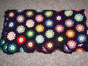 Crochet 60 x 67 afghan blanket throw multi colored handmade