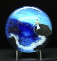 """RICK AYOTTE Midnight Blue Series Art Glass LT ED 1989 Paperweight,Apr 2.5""""Hx4""""W"""