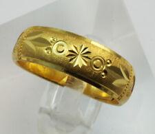 24K Solid Yellow Gold Diamond Cut Ring Band