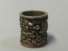 Collect Old China Tibet Silver Sculpture Force Dragon Thumb Ring or Pendant Gift