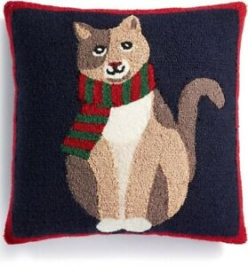 """Martha Stewart Chilly Cat 18"""" Square Blue Decorative Pillow T410361"""