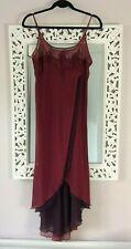 Vintage Y2K M&S Burgundy Maxi Sheer Asymmetric Dress, UK Size 10-12 Immaculate