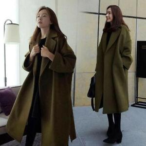 Women's Korean Fashion Oversize Loose Lapel Collar Wool Blend Trench Casual Coat
