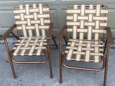 Vtg Pair (2) Webbed Steel Frame Folding Lawn Patio Chairs Gold Brown Lot A