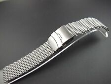 22mm stainless steel SHARK mesh bracelet Diving Watch Brushed new parts Gear 2