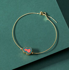 F02 Bangle Gilded Silver 925 Blue and Red Cloisonne Adornment
