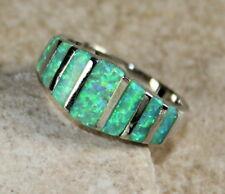 SILVER Elegant Green Fire Opal Ring Size 6, WR41403