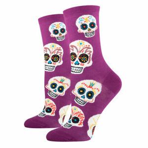 Women's Crew Socks Novelty Footwear Black/Purple/Brown/Red/Sky Blue By Socksmith