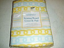 New Sedafrance Ironing Board Cover & Pad Standard Size Yellow Blue Chains