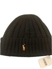 NEW Polo Ralph Lauren Wool Hat Ribbed Beanie Skull Cap Cuffed NWT Black