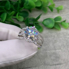 3.95 TCW Round Cut Brilliant Moissanite Engagement Ring in 14K White Gold Plated