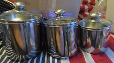 STAINLESS STEEL 3 PIECE CANISTER SET GLASS LIDS