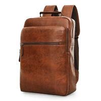 Business Men's Laptop School Backpack Travel Waterproof Notebook Bag PU Leather