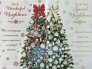 NEIGHBOUR CHRISTMAS CARD  ~ CHOICE OF 2 TREE DESIGNS ~ QUALITY CARD NICE VERSE