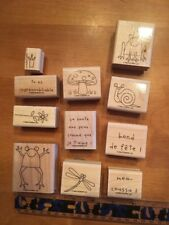 Stampin' UP Rubber Stamps Set Lot #3 French Francais Frog Flower Mushroom