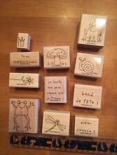 Stampin' UP Rubber Stamps Set Lot #3 French Francais Frog Flower Mushroom