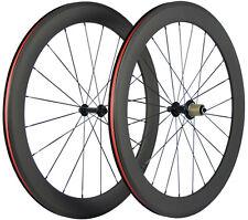 700C 60mm Tiefe Fahrrad Laufräder Kohlefaser 3k Matte Shimano Cycle Drahtreifen