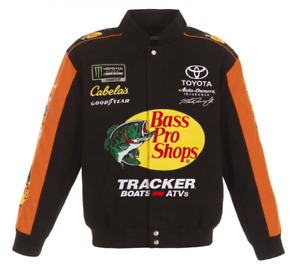 Martin Truex JR Bass Pro Shops Twill Cotton Jacket Black Orange JH Design