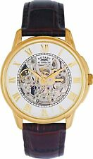 Rotary Men's Brown Strap Gold Automatic Skeleton Watch Gents GS03862/01