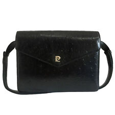 PIERRE CARDIN BLACK OSTRIC EMBOSSED LEATHE SHOULDER BAG