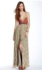 Free People Crushed Gold Long Maxi Party Prom Dress Size 2 XS $400