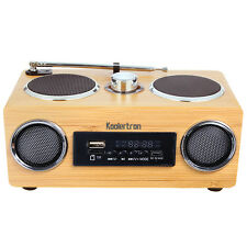 Upgraded Hand-made Bamboo Wood Stereo Boombox Speaker Amplifier Radio Function