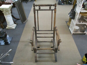 Antique 1800's Carpet Rocking Chair Victorian Platform Rocker with Coil SPRINGS
