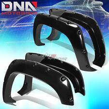 FOR 88-98 CHEVY/GMC C10 FENDER WHEEL FLARES KIT POCKET RIVET BLACK ABS PLASTIC