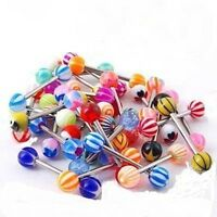 20 x Tongue Nipple Eyebrow Bar Bars Body Piercing Jewellery Rings Makeup - UK