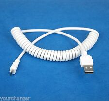 Coiled Micro USB Data Sync Cable WHITE for Sony Xperia Z2 Tablet Z LTE 4G Wi-Fi