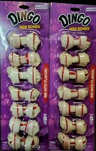 2 Dingo Mini Bone 7 Packs Chicken Rawhide Chew Teething Cleaning Small Toy Dogs
