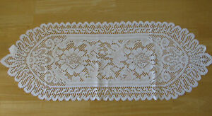 """Lace Table Runner White Oval Floral Pattern 35"""" Long X 13"""" Wide New! SHIPS FREE"""