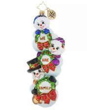 Christopher Radko We Are Family Snowman Glass Christmas Ornament #1019266 Nib