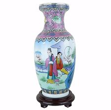 "Chinese China Traditional Porcelain Vase with Wood Stand 12""H x 5""W - New"