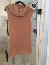 Michael Kors Beige Chunky Knit Cowl Neck Sweater Dress M Medium W Pockets Jumper