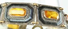 VINTAGE ART DECO 1920'S AMBER COLORED CZECH GLASS ENAMEL BRACELET