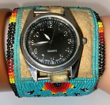 Old Pawn Native American Beaded Watch Cuff Bracelet