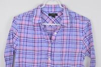 J Crew Tunic Shirt sz 6 Long Sleeve Button Up Cotton Womens Plaid Pink Red Blue