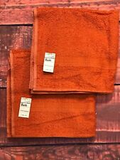 Vtg 1970s Jc Penneys Orange Rost Brown Frottee Tuch Bad Handtuch Mid Century Set