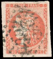 France #47c Used CV$675.00 1870 40c Scarlet (Rouge-Sang Clair) Large Numeral