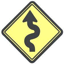"11""X11"" hand glued Cricut CURVY Road SIGN  race curve arrow windy yellow street"