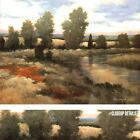 "40W""x30"" WARM SPRING I by KANAYO EDE - SERENE LANDSCAPE STREAM SHRUBS CANVAS"