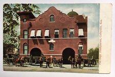 1911 KS Postcard Coffeyville Kansas Fire Dept Headquarters HQ house station