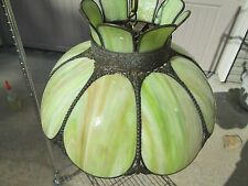 Vintage Stained Glass Green Slag Swirl Jadeite Light Hanging Lamp Fixture Shade