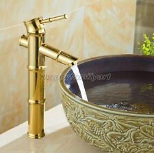 Bamboo Tall Vessel Sink Gold Color Brass Bathroom Faucet Mixer Tap ynf046