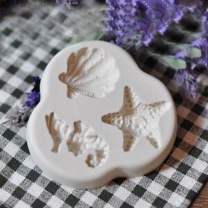 Silicone Sea Horse Shells Fondant Mould Cake Beach Starfish Seashell Icing Mold
