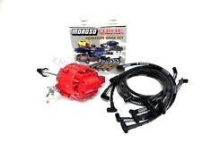 SBC 350 400 Red Cap HEI Distributor & Black Moroso Spark Plug Wires 90* Kit OVC