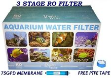 RO 3 STAGE REVERSE OSMOSIS FILTER UNIT 75GPD IDEAL FOR MARINE/TROPICAL AQUARIUM