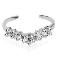 New Seven Gem .925 Sterling Silver Clear Cz Adjustable Toe Ring (toe-8L)