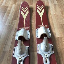Vtg Pair Of Kids Jr Mercury Nash Red Wooden Water Skis Lake Cabin Decor 4' Long